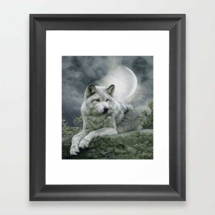 WOLF AND MOON Gerahmter Kunstdruck
