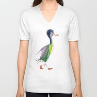duck V-neck T-shirts featuring duck by tatiana-teni
