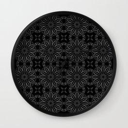 Black Floral Pattern Wall Clock