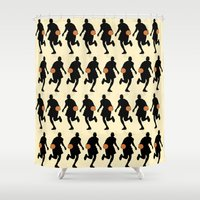 basketball Shower Curtains featuring Basketball by superdumb