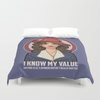 hallion Duvet Covers featuring I Know My Value by Karen Hallion Illustrations