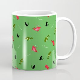 Green Orca and Red Shark and Black Cats Coffee Mug