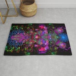 7 Temporal Spirits (psychedelic, psytrance, totem, fluorescent, visionary art) Rug