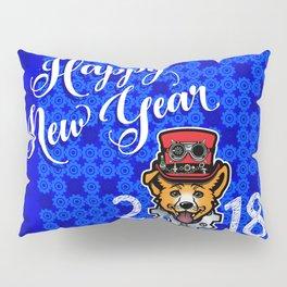 Happy New Year 2018 Yellow Dog Pillow Sham
