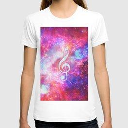 Galaxy Nebula Glitter Music Note Pink Space T-shirt