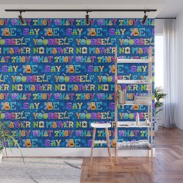 Be Yourself - Blue Pattern Wall Mural