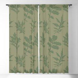 Block Print Mugwort Leaf Toss in Sage + Dill Blackout Curtain