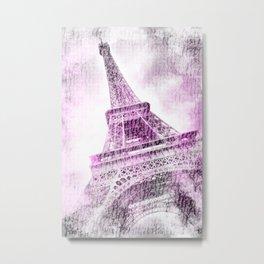 PARIS Watercolor Eiffel Tower | pink Metal Print