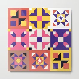 Maroccan tiles pattern with pink and purple no3 Metal Print