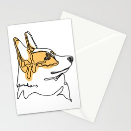 Corgi Dog Puppy One Line Drawing Art Stationery Cards