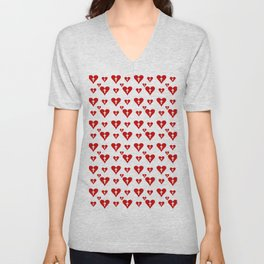 heart and cross 1 - red Unisex V-Neck