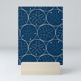 Sanddollar Pattern in Blue Mini Art Print
