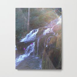 Sun-Kissed Waterfall Metal Print
