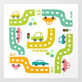 Cars, cars, cars! Watch out! Busy life in the city. Wall decor. Nursery abstract art.  Art Print