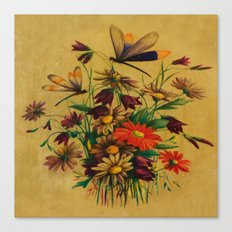 Stained Glass Dragonflies & Flowers Canvas Print