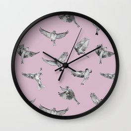 Birds in Flight in Pink and Grey Wall Clock