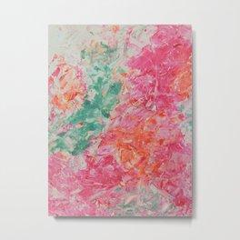 Spring Floral #9 - Pink, Orange & Emerald Abstract Print Metal Print