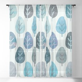Watercolor Forest Pattern #2 Sheer Curtain