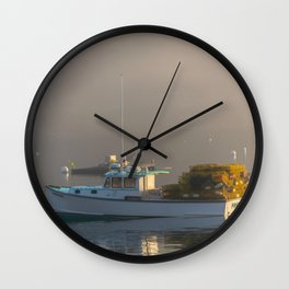 Lobster Boat Maine Fog Print Wall Clock
