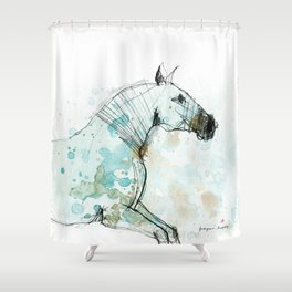 Horse (Lusitano Blue) Shower Curtain