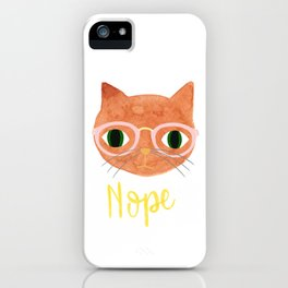 Nope - Hipster Cat with Glasses - Illustration iPhone Case