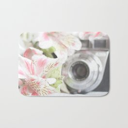 Pink flower and bokeh camera in the morning (Still Life Photography)  Bath Mat