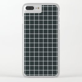 Charleston green - grey color - White Lines Grid Pattern Clear iPhone Case