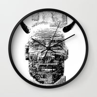 pocket fuel Wall Clocks featuring Nightmare Fuel by Danielle Brady