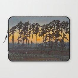 Japanese Woodblock Print Morning Sunrise Farm Tree Silhouette Laptop Sleeve