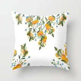 A Bit of Spring and Sushine Trailing Oranges Throw Pillow