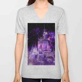 Enchanted Castle Purple Pink Unisex V-Neck