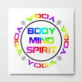 Yoga Body Mind Spirit Meditation Design Metal Print