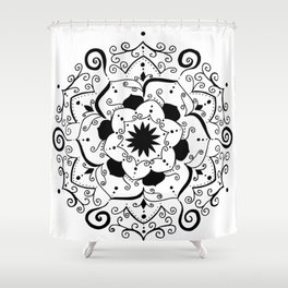 Namsate black mandala on white Shower Curtain