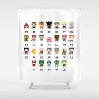battlefield Shower Curtains featuring Video Games Pixel Alphabet by PixelPower