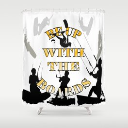 Be Up With The Boards Yellow Text And Kitesurfer Vector Shower Curtain