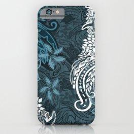 Polynesian Distressed Tribal Layered Print iPhone Case