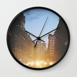 New York City Evening Lights Wall Clock