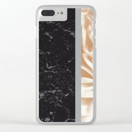 Cafe Au Lait Flower Meets Gray Black Marble #5 #decor #art #society6 Clear iPhone Case