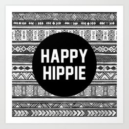 Happy hippie - b&w Art Print