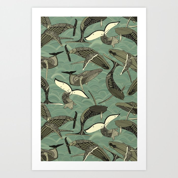 whales and waves aqua Art Print
