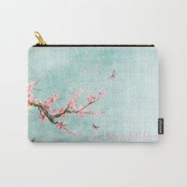 Live life in full bloom - Romantic Spring Cherry Blossom butterfly Watercolor illustration on aqua Carry-All Pouch