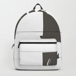 Rhode Island is Home - Charcoal on White Wood Backpack