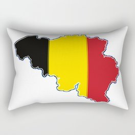 Belgium Map with Belgian Flag Rectangular Pillow