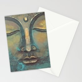 Rusty Golden Copper Buddha Face Watercolor Painting Stationery Cards