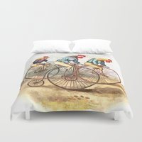 racing Duvet Covers featuring Racing Roosters by Lee Martin