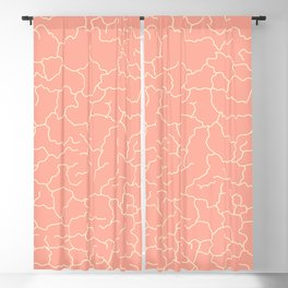 Peach and Yellow Cracked Lines Minimal Abstract Pattern  Blackout Curtain