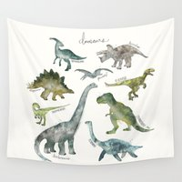 dinosaurs Wall Tapestries featuring Dinosaurs by Amy Hamilton