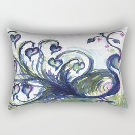 Pink Hearted Peacock watercolor by CheyAnne Sexton Rectangular Pillow