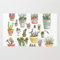succulents Area & Throw Rugs featuring Potted Succulents by Brooke Weeber