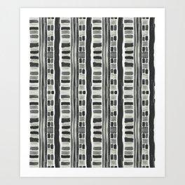 Watercolor Stripe, Black Art Print